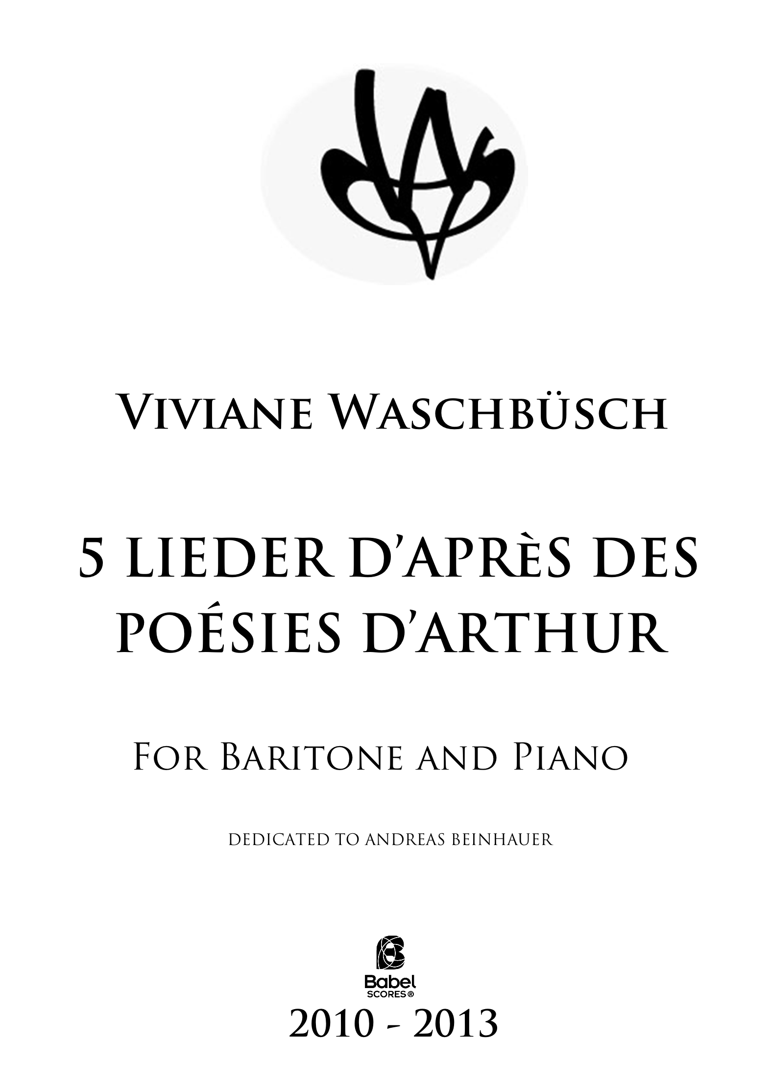 Five Lieder on texts of Arthur Rimbaud
