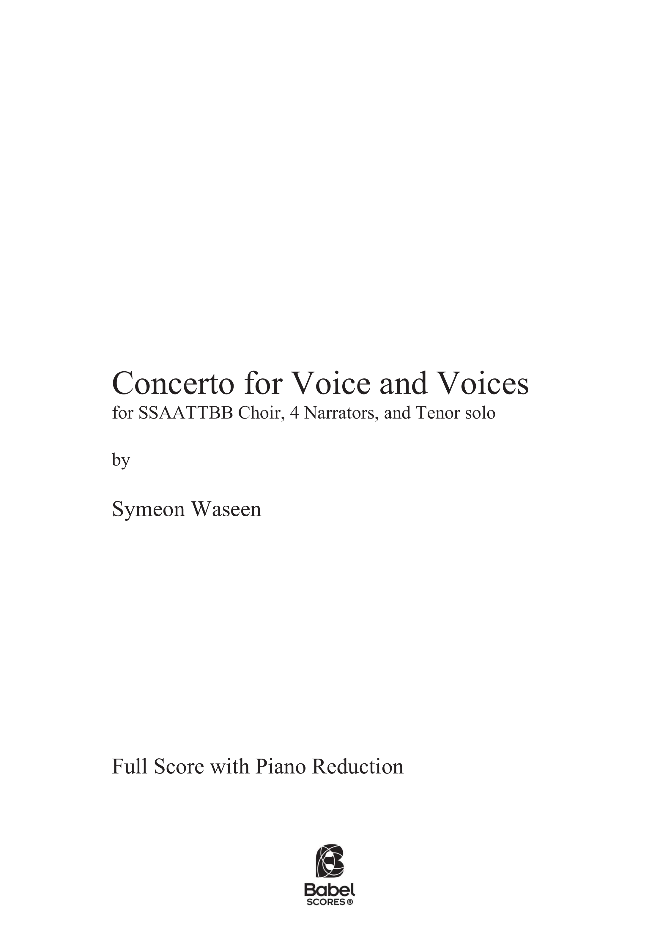 Concerto for Voice and VoicesZ