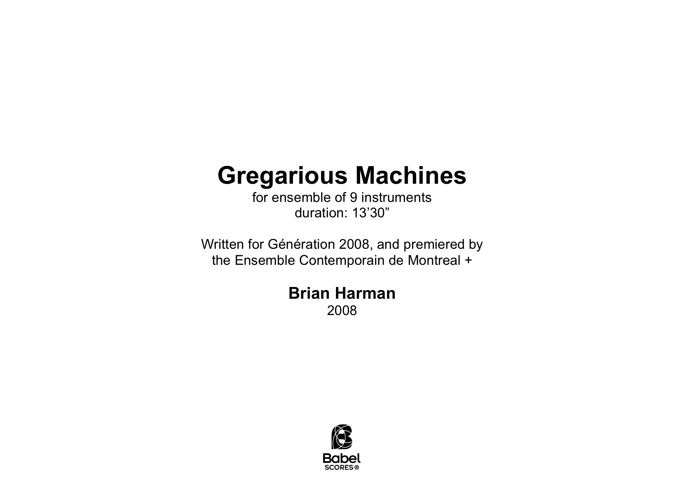 Gregarious Machines Brian Harman A4 z