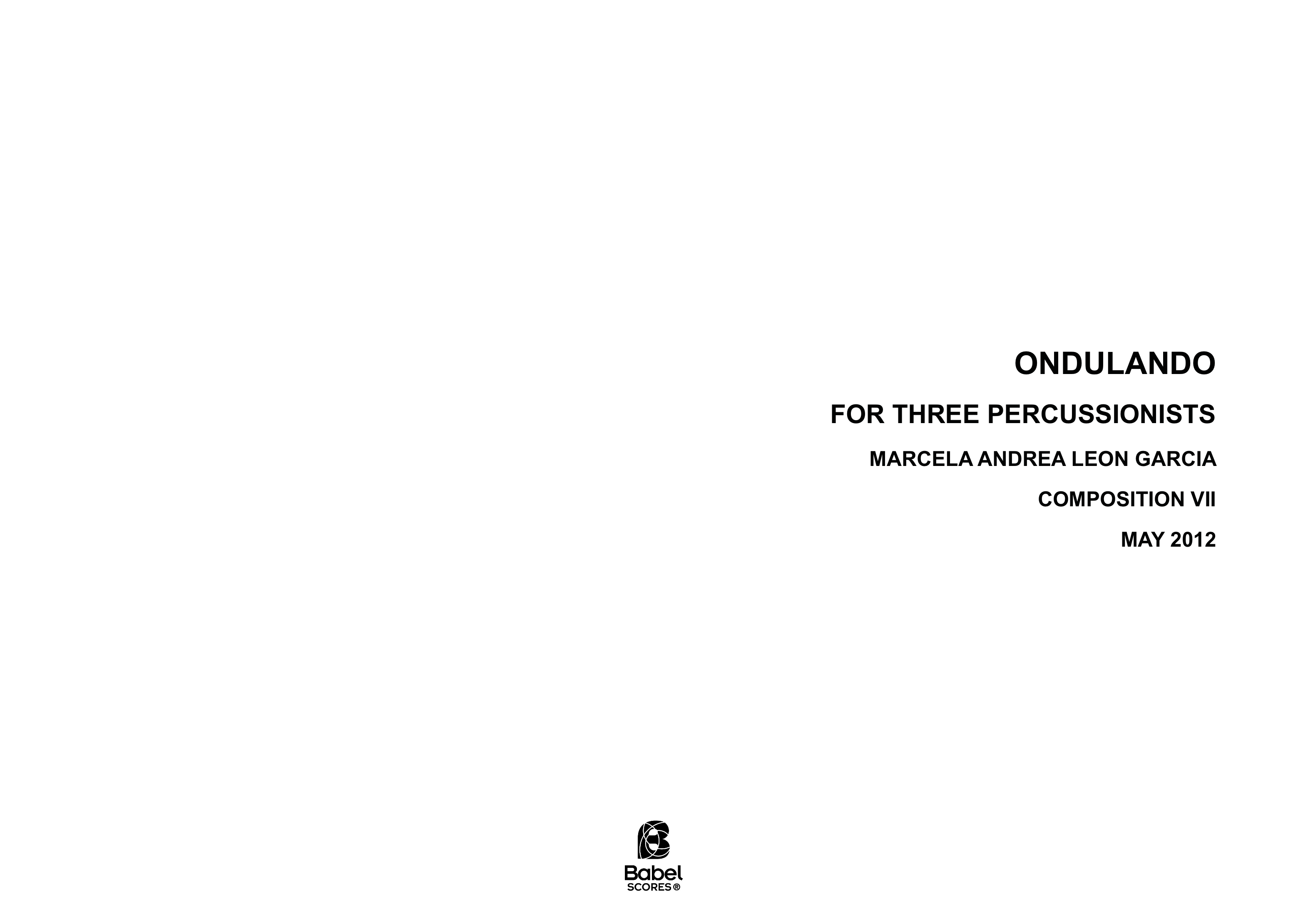 Ondulando for three percussionists A3 z 3 271 1 129