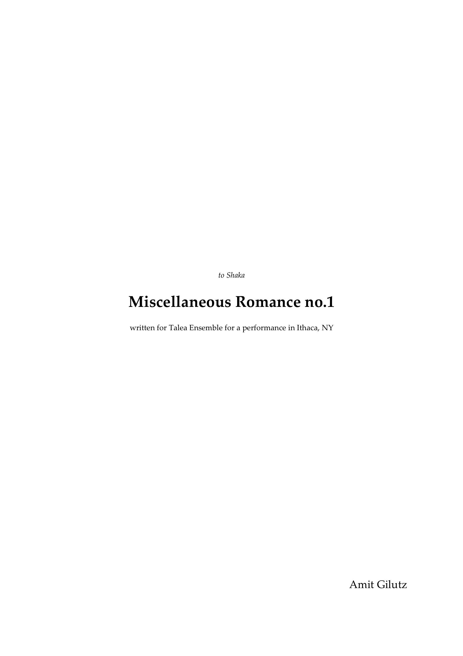Miscellaneous romance no 1