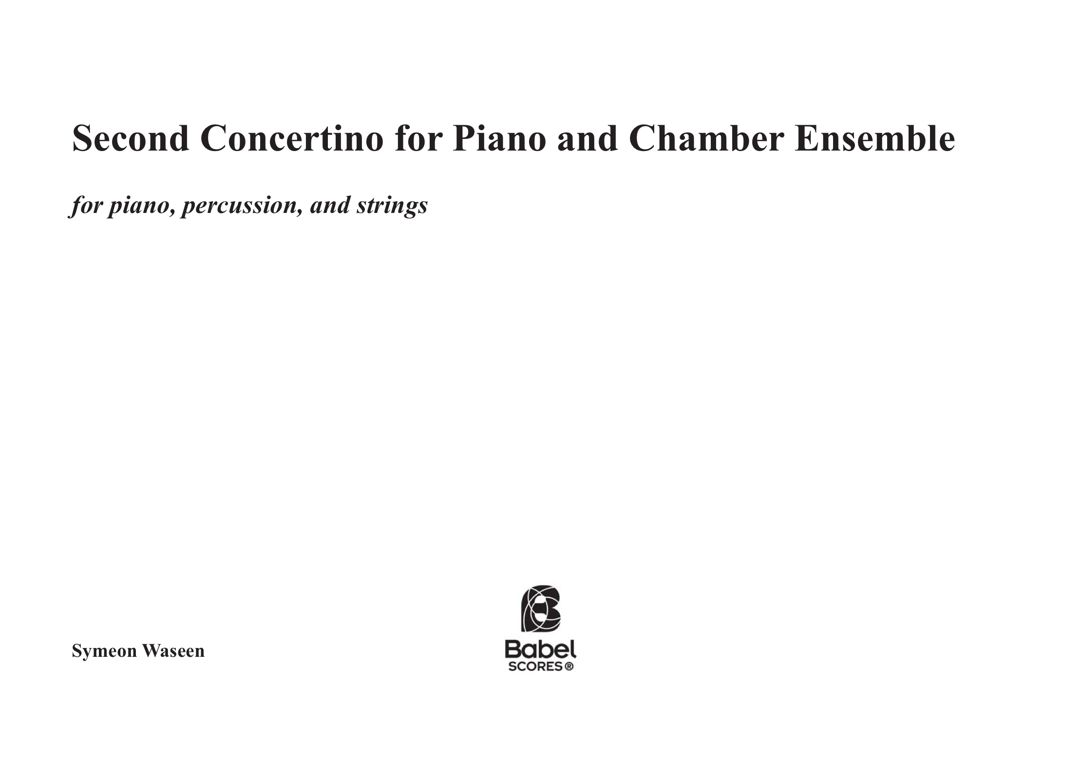 Second Piano ConcertinoZ
