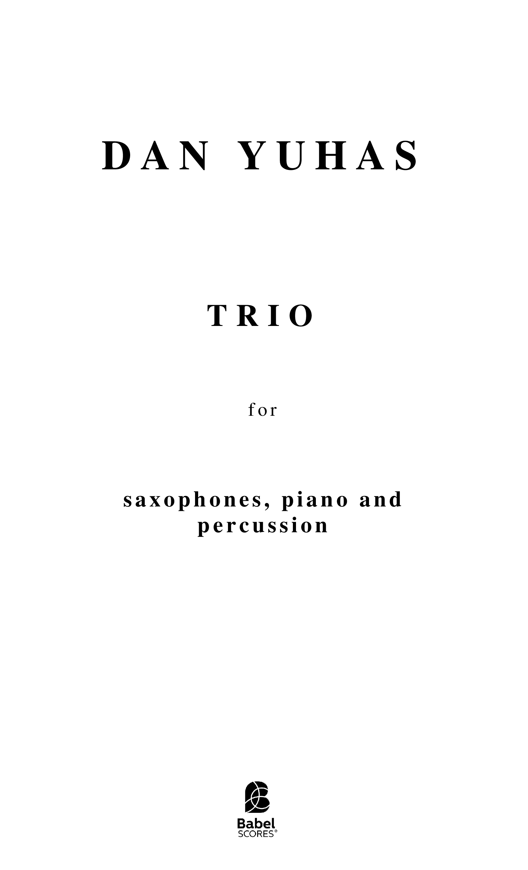 Trio for saxophones piano and percussion A4 z